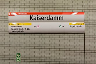 Kaiserdamm (Berlin U-Bahn) - Station sign.