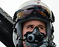 U.S. Air Force 1st Lt. Matthew Alexander, an F-16 Fighting Falcon aircraft pilot with the 555th Fighter Squadron, straps on an MBU-20-P oxygen mask at Lask Air Base, Poland, before taking off for a training 140318-F-BH566-141.jpg