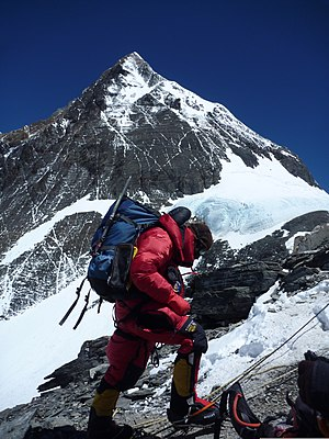 Mount Everest in 2013 - Another view from around the South Col area up toward the higher elevations of Everest, on 20 May 2013