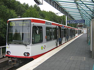 Bochum Stadtbahn - Stadtbahnwagen B at the southern terminus (Hustadt) on the U35