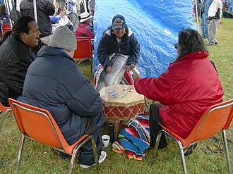 Indigenous music of North America - United Indians of All Tribes Foundation drummers at the Seafair Indian Days Pow Wow, Daybreak Star Cultural Center, Seattle, Washington