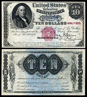 Refunding Certificate - The 1879 Refunding Certificate depicting Benjamin Franklin