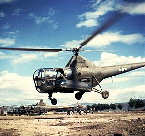 Medical evacuation - USAF Sikorsky R-5 Helicopter evacuates casualties during the Korean War