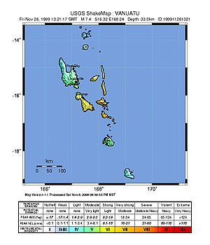 1999 Ambrym earthquake - USGS ShakeMap for the event