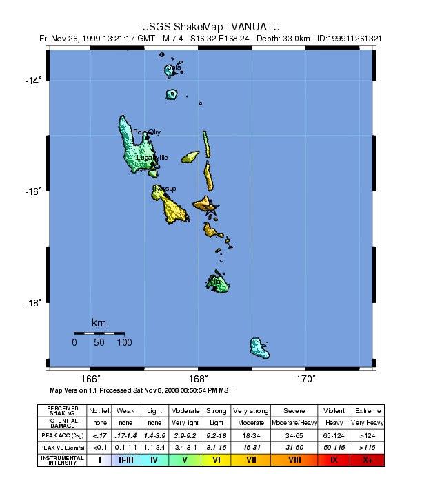 USGS Shakemap - 1999 Ambrym earthquake