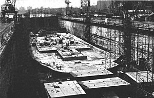 USS Independence (CV-62) - Independence under construction at the Brooklyn Navy Yard in 1955