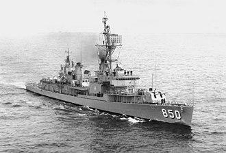 USS Joseph P. Kennedy Jr. (DD-850) - Image: USS Joseph P Kennedy (DD 850) underway