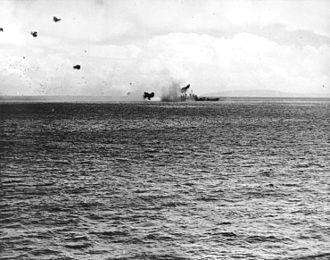 USS St. Louis (CL-49) - St. Louis hit by a kamikaze off Leyte, 27 November 1944
