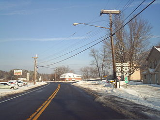 U.S. Route 4 in New York - North end of the northern US 4 / NY 32 overlap in Northumberland