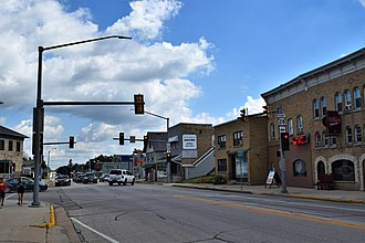 Kewaskum, Wisconsin - Intersection of US 45 and WIS 28 in downtown Kewaskum