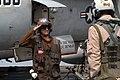 US Navy 030404-N-4336G-058 Aviation Structural Mechanic Airman Michael Stelmaker from Nekooska, Wis., salutes a pilot before a launch from aboard USS Abraham Lincoln (CVN 72).jpg