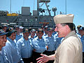 US Navy 040812-N-2006A-001 Master Chief Petty Officer of the Navy (MCPON) Terry Scott, speaks with Chief Petty Officer (CPO) selectees in front of the mine countermeasure ship USS Chief (MCM 14) homeported at Naval Station Ingl.jpg