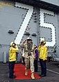 US Navy 041215-N-5345W-005 The Chairman of the Joint Chiefs of Staff Gen. Richard Myers, walks through rainbow side boys as he departs the Nimitz-class aircraft carrier USS Harry S. Truman (CVN 75).jpg