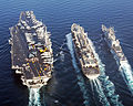 US Navy 050226-N-7422B-003 he Nimitz-class aircraft carrier USS Harry S. Truman (CVN 75) and the guided missile cruiser USS Monterey (CG 61) conducts a replenishment at sea.jpg