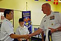 US Navy 070604-N-5827C-015 Director, Warfare Integration, Rear Adm. Kenneth Deutsch, shakes hands with a Hyman G. Rickover Academy student, during the admiral's visit to the school as part of 2007 Chicago land Navy Week.jpg