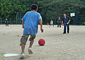 US Navy 070822-N-0807W-233 USS Juneau (LPD 10) Sailors play kickball with the children of the Tenshin-ryo Children's Home after a community relations project (COMREL).jpg