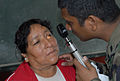 US Navy 080615-N-6410J-009 Lt. Manoj Abraham, embarked aboard the amphibious assault ship USS Boxer (LHD 4), examines a patient's eyes at the Guillermo Enrique Billinghurst School in Barranca.jpg