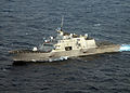 US Navy 100203-N-7058E-546 The littoral combat ship USS Freedom (LCS 1) is underway off the coast of Florida at sunset during pre-deployment workups.jpg