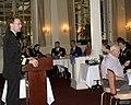 US Navy 100511-N-0869H-181 Rear Adm. James A. Symonds, commander of Navy Region Northwest, speaks to the Downtown Spokane Kiwanis Club about today's Navy during a Spokane Navy Week event.jpg