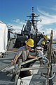 US Navy 101006-N-0307V-005 Shipwrights at Pearl Harbor Naval Shipyard and Intermediate Maintenance Facility set up staging for net repairs aboard t.jpg