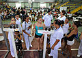 US Navy 110810-N-NY820-212 Patients are weighed by Costa Rican nurses during a community service medical event at the Barranca Municipal Gym medica.jpg