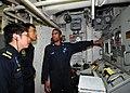 US Navy 110824-N-XR557-022 Gas Turbine Systems Technician (Mechanical) 3rd Class Earl Bellamy, right, shows Republic of Singapore navy officers Lt.jpg