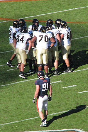 2007 Virginia Cavaliers football team - Virginia defensive end Chris Long surveys the Wake Forest offense