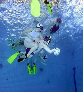 Underwater rugby Game where two teams try to score a negatively buoyant ball into the opponents' goal at the bottom of a swimming pool on breath-hold