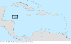 Map of the change to the United States in the Caribbean Sea on November 15, 1923