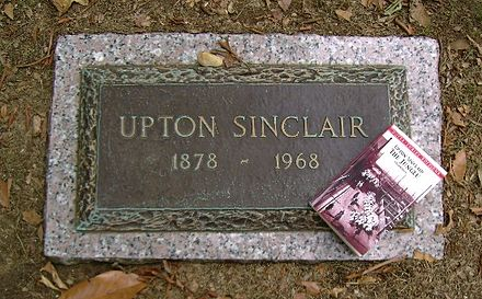Sinclair's grave in Rock Creek Cemetery, Washington, DC Upton Sinclair grave.jpg