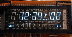 Vacuum fluorescent display - A full view of a typical vacuum fluorescent display used in a videocassette recorder