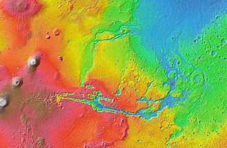 Valles Marineris - Topographic map of Valles Marineris with its associated outflow channels and their surroundings, based on MOLA altimetry data