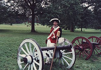 Valley Forge National Historical Park - Ranger in Continental Army uniform explaining Revolutionary War artillery.
