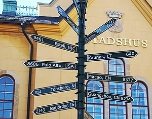 Linköping Municipality - Sign post showing the municipality's twin towns and sister cities