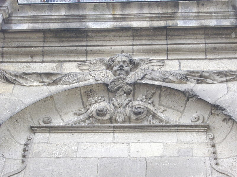 Our Lady cathedral of Verdun (Meuse, France), relief of angel on the portal