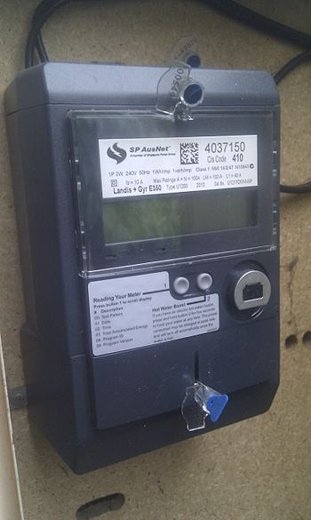 English: A electrical 'smart' meter installed ...