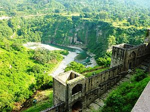 Kangra Fort - View from top of Kangra Fort overlooking river.