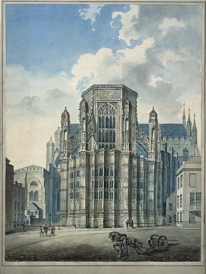 Henry VII Chapel - View from Old Palace Yard, in pencil and watercolour. Edward Edwards c. 1780s