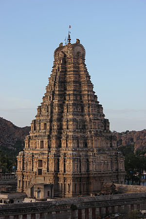 Vijayanagara architecture - Virupaksha temple, Raya Gopura (main tower over entrance gate) at Hampi, Karnataka