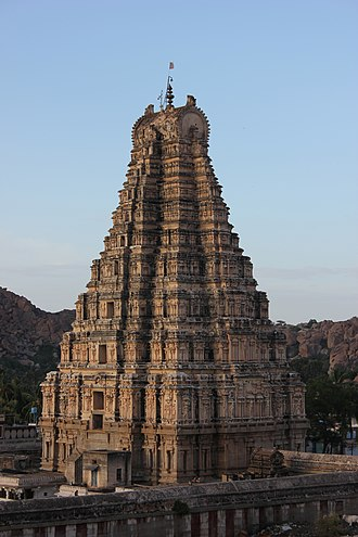 Vijayanagara architecture - Virupaksha temple, Raya Gopura (main tower over entrance gate) at Hampi, Karnataka