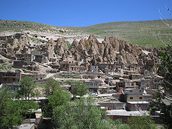 A view of Kandovan rock houses.