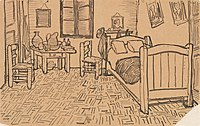 Vincent van Gogh - Vincent's Bedroom in Arles - Letter Sketch October 1888.jpg