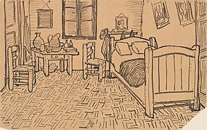 Bedroom in Arles - Sketch from a letter to Theo