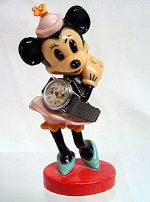 Vintage Minnie Mouse Character Watch With Plastic Statue by U.S. Time, Circa 1958 (9289446395).jpg