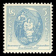 A 1937 United States stamp honoring Virginia Dare
