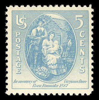 History of women in the United States - A stamp honoring Virginia Dare, who in 1587 became the first English child born in what became the U.S.