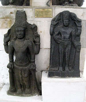 Tarumanagara - Two Vishnu statues from Cibuaya, Karawang, West Java. Tarumanagara c. 7th-8th century. The tubular crown bears similarities with Cambodian Khmer art.
