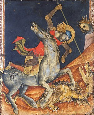 Vitale da Bologna - St. George and the Dragon, detail.