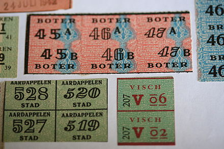 Dutch food ration coupons from World War II Voedselbonnen-01.jpg
