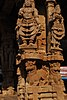 Carvings of deities on the pillars of the mantapam in the Vontimitta Kodandarama Swamy Temple